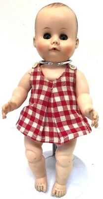 """RARE 1950""""s Vintage Madame Alexander MME 10"""" BABY Doll in Dress DRINK/WET Diaper"""