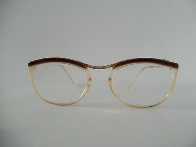 Vintage Brown Over Eye AMOR, Gold & Clear Oval Eye Glasses  135