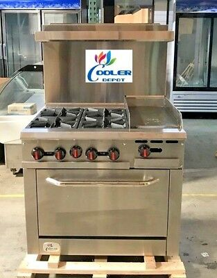 """NEW 36"""" Oven Range Combo Griddle & Hot Plate Stove Top Commercial Kitchen (NSF)"""