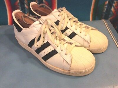 Vintage 70's Adidas Superstars Made In France - 8.5 WHITE W/ BLACK STRIPES!!!