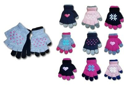 Girls Children Kids Winter Acrylic Double Gloves Fingerless Size 5-12 Years