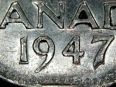 1947 Doubled Date Canada Five Cents  -  High Grade Xf+/au