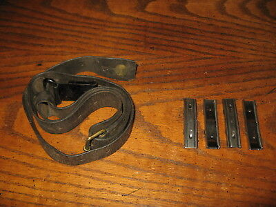 Swedish leather Mauser sling used 4 stripper clips  m96 m38 military