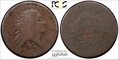 "1793 WREATH Lettered Edge * PCGS G06 G6 "" SECURE "" FLOWING HAIR LARGE Cent 1c !!"