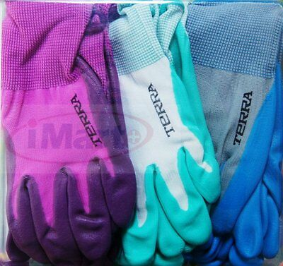 6 Pairs Terra Gardening Garden Ladies Womens Gloves Glove Nitrile Coated new
