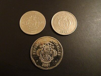 Lot of 3 Coins from Seychelles - Circulated - 1 Rupee & 5 Rupees