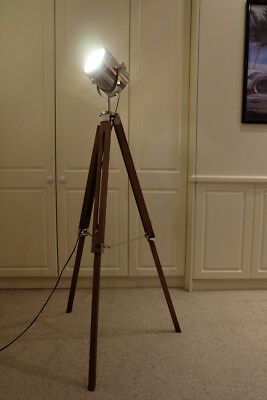 Movie theatre style floor lamp with wooden stand