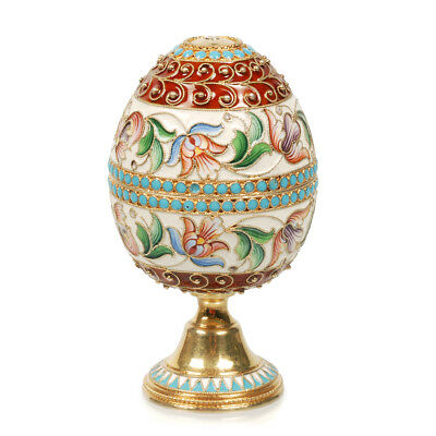 Antique Russian Nikolai Alekseev silver gilt and shaded cloisonne enamel egg