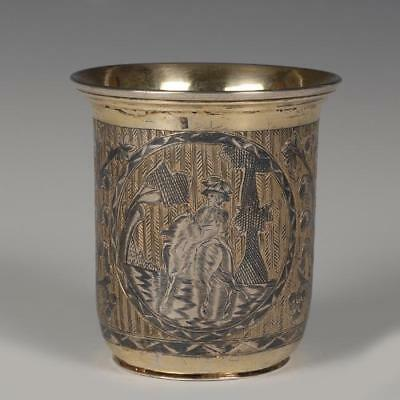 Antique Russian Gilded 84 Silver and Niello Beaker, Cup Moscow 1833