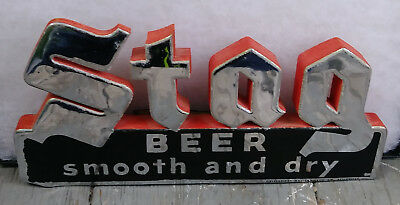 Scarce Stag Beer 3-D Back Bar Shelf Talker Sign Griesedieck Belleville Illinois