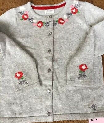 Mothercare heritage Girls Grey Cardigan With Flower Design Age 18-24 Mths