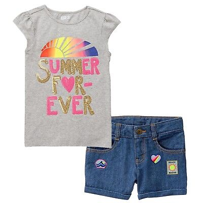 NWT Crazy 8 Girls Size 4T 5T Happy Be You Tank Top /& Denim Jean Shorts 2-PC SET