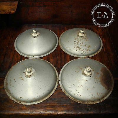Lot of 4 Vintage Industrial Grey Gas Station Pendant Lamp Shades