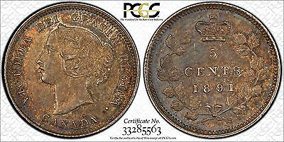 Toned 1891 Canada Silver 5 Cents PCGS MS-62
