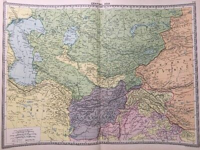 1925 Vintage Central Asia Map Persia Turkistan Russia Afghanistan +