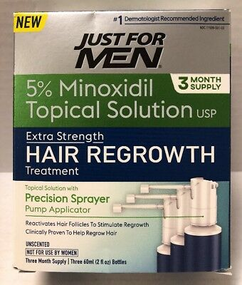 NEW! Just For Men Hair Regrowth Treatment, 3 Month Supply, 6 Fluid Ounce exp 19