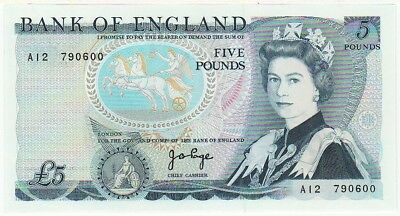 1971  £5 , 5 Pounds  Bank Of England J B Page  Note Circulated