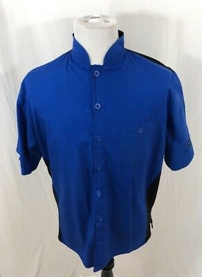 Cook Cool by Happy Chef #545 Men's Shirt Large Blue Short Sleeve Button Front