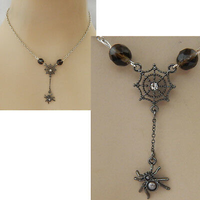 Spider Necklace Black Web Pendant Jewelry Handmade NEW Chain Silver Fashion