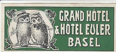 Grand Hotel & Hotel Euler luggage label in Basel Switzerland w Owl Couple