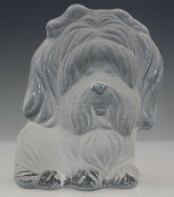 Vintage Signed Viking Frosted Art Glass Shih Tzu K9 Dog Figurine Paperweight
