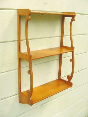 Antique Art Nouveau 3 Tier Wall Shelf of Solid Birch ~Beautiful Lines and Patina