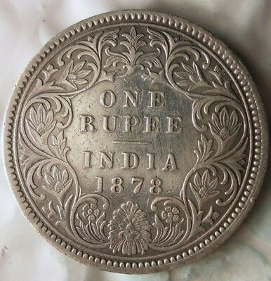 1878 INDIA RUPEE - AU - Vintage SILVER COIN - Great Piece - Lot #920