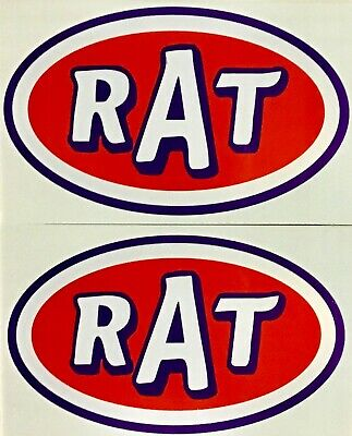 2- Pack Rat Rod Hot Rod Decal Sticker Chopper Rat Fink  Vintage Racing Oil Tools