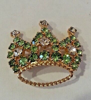 Vintage  Regal Royal Crown,Green Rhinestone  Brooch Gold Tone