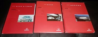 3 alte original Honda Pressemappen / Folder im Set! Civic + Accord!