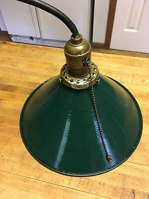 Vintage Ceiling Light Metal Pendant Industrial, Hanging Barn Green Lampshade