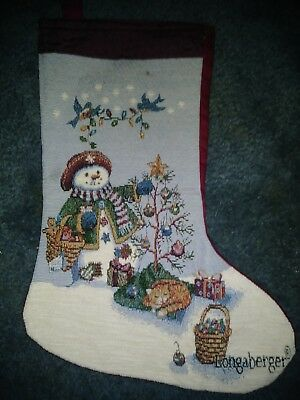 Longaberger Snowman Christmas Stocking