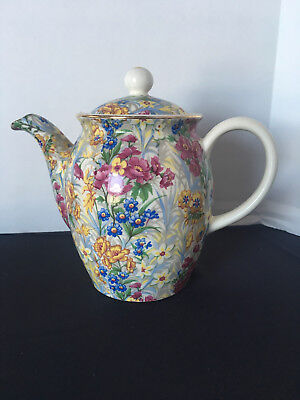 Small Cheery Chintz Sussex Erphila Porcelain Teapot & Lid, Germany