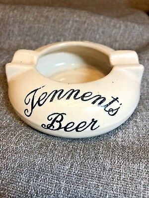 RARE Antique Tennent's Beer Ashtray Possil Pottery England Glasgow Vintage Ale