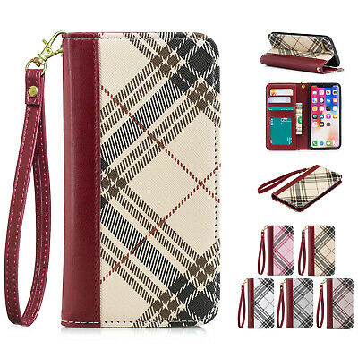 Classic Grid Leather Wallet Flip Stand Card Case Cover For iPhone X XS Max 6 7 8