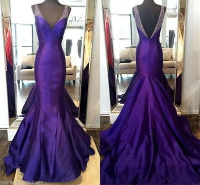 Purple Beaded Mermaid Prom Evening Dresses Pageant Party Formal Gown V Neck Long