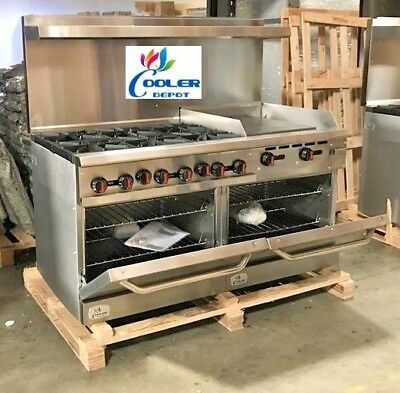 """NEW 60"""" Double Oven Range Combo Griddle & Hot Plate Stove Top Commercial (NSF)"""