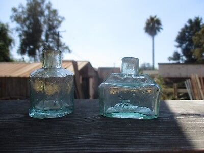 Lot Of (2) Old Antique Ink Bottles. From The 1800's, Both In Great Shape