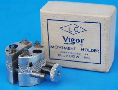 Unique Vintage Watchmakers Tool +Box LG Vigor Movement Holder 2 Ligne to 18 Size
