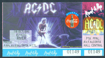 AC DC Rock Metal Argentina 1996 Concert Ticket MINT