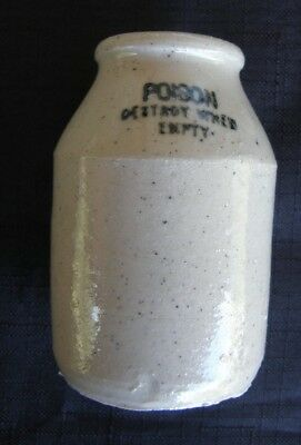 "Antique Vintage Old ""Poison Destroy When Empty"" Pottery Bottle Very Rare"