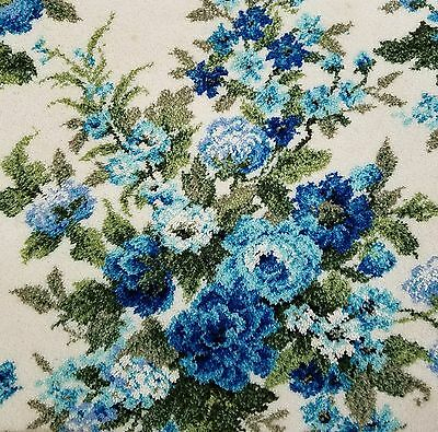 ~RARE~HUGE Antique Vintage Alexander Smith French Barkcloth Print Roses Wool Rug
