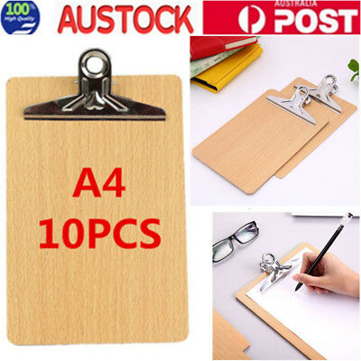 10Pcs A4 Clipboard Wooden Hardboard Menu Board With Clip For Office Home School