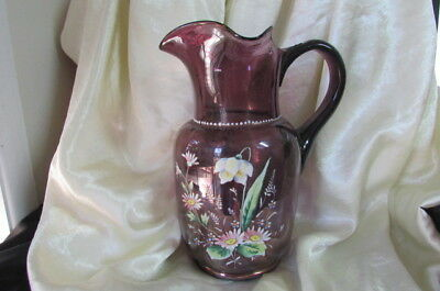 Antique Victorian Enamel Painted Purple Jug