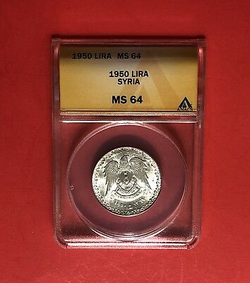 Syria- 1950 Unc 1 Lira Silver Coin ,certified By Anacs Ms 64