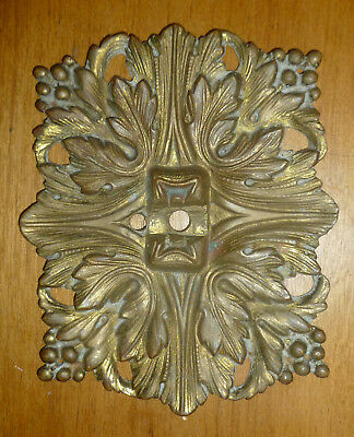 antique Bronze Brass Ornamental ART NOUVEAU ORNATE METAL PLATE 5x4 Acanthus Leaf
