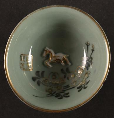 Antique Japanese Military WW2 EMBOSSED HORSE CHINA INCIDENT army sake cup