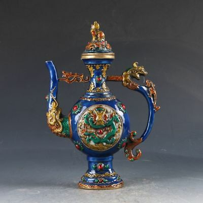 Chinese Cloisonne Handwork Carved Dragon Teapot W Qing Dynasty  Mark ZJ85