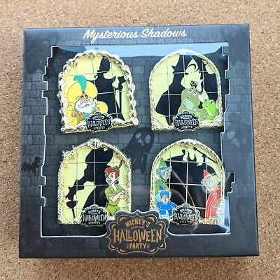 Mysterious Shadows Box Pin Set 2018 Disneyland Mickey's Halloween Party LE 1000