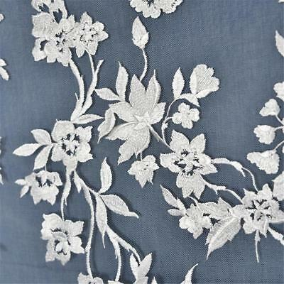 51 Width Flower Embroidery Lace Fabric Materials Diy Wedding Bridal